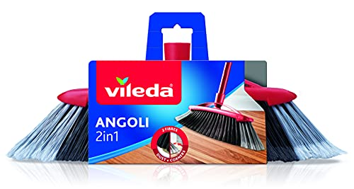 Vileda Scopa 2 in 1 Angoli, per Interni, con Due Tipi di Fibre, per Angoli, Fibre in PET Riciclato, 14 x 37 x 5.5 cm, 299 g