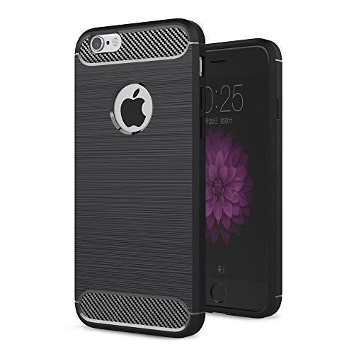 MYCASE für Huawei Enjoy 5 und Huawei Y6 Pro Schutz Hülle Cover | SCHWARZ Carbonfibre Case | Weich TPU Silikon Tasche Scale | Dünn Armor Handyhülle