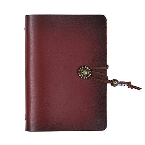 Cheerlife Mini A7 Echt Leder Journal Reisetagebuch Ringbucheinlagen Nachfüllbar Blätter Notizbuch Zeichenfolge gebunden leeren Notebook (Rotbraun)