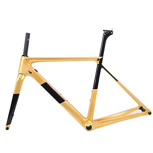 LJHBC Cuadros de Bicicleta Fibra de Carbono T800 998g de Peso Súper Ligero Cuadro de Freno de Disco de Carretera 700C Varios tamaños (Color : Yellow, Size : 52cm)