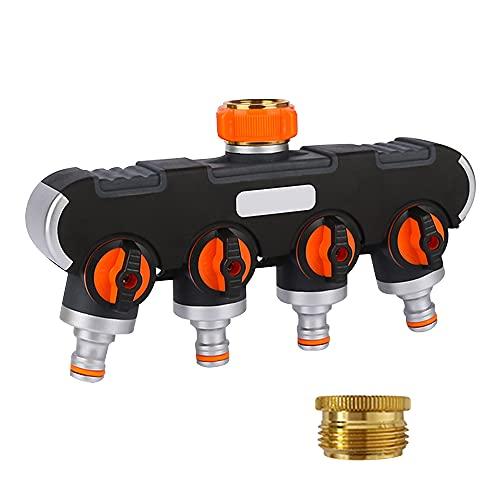 Swetup 4-Wege-Verteiler, 3/4 Zoll und 1/2 Zoll Wasser Verteiler mit Wasserhahn Adapter, Unabhängiger Schalter Rohr Splitter Mehrfachanschluss Schlauchverteiler für Bewässerungsuhr Waschen Haustierenr