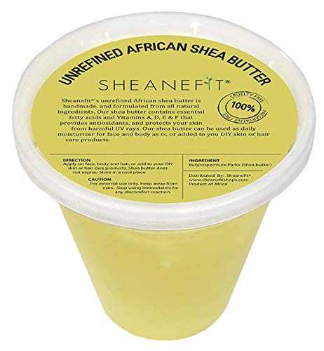 Raw Unrefined African Shea Butter - 8oz, 16oz, 32oz Containers by Sheanefit (Yellow, 30oz)
