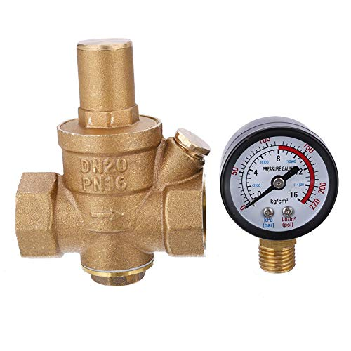 """HGFHGD PN1.6 Wasserdruckminderer DN20 3/4""""Messing Druckregler Druckminderungs-Halteventil mit Instrument 85 * 63mm"""