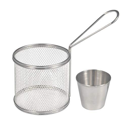 Fry Baskets Mini Runde Edelstahl Pommes Frites Friteuse Korb Halter Kochwerkzeug mit Sauce Tasse für Tisch servieren Essen Präsentation Küche verwenden(2PCS)