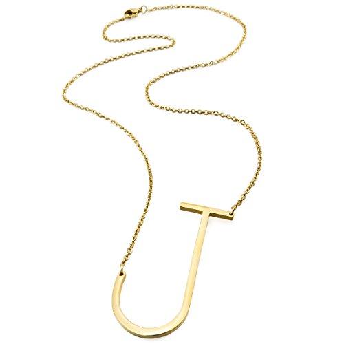 MunkiMix Acero Inoxidable Colgante Collar Oro Dorado Tono Letra Iniciales Hombre,Mujer,Cadena