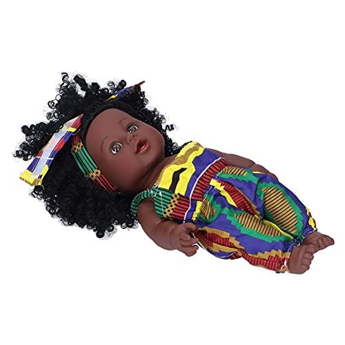 LXTIN Baby Doll Reborn Baby Doll Baby Doll Toy Black Baby Girl Doll con Banda para la Cabeza Muñeca Reborn Girl Muñeca de Vinilo para niños(Q12.040 Batik Overalls)