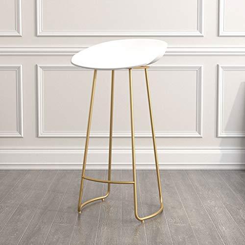 Hocker Tisch mit stühlen zocker Tisch sitzpolster Metall Bar Chair Kreative PP Sitz Bar Barhocker Mehrzweck Kaffee Freizeit Hocker Home Green Dining Stuhl (Farbe : Weiß, Size : Gold Frame)