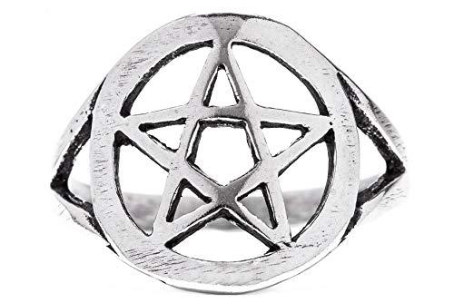 Windalf Schutz Ring PENTAS h: 1.4 cm Pentagramm Schmuck Antik 925 Sterlingsilber (Silber, 54 (17.2))
