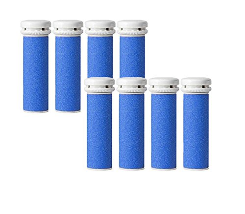 8x Extra Grobe Blau Mikro-Mineral Ersatzrollen für die Emjoi Micro-Pedi Replacement Rollers Compatible With Emjoi Micro Pedi Rollen