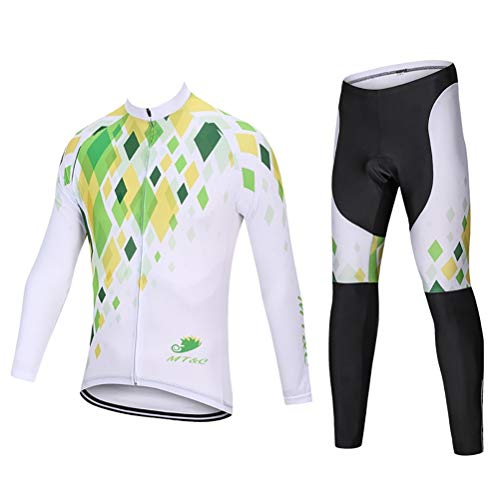 ETScooter Men's Cycling Jersey Suit Winter Thermal Fleece Long Sleeve Mountain Bike Road Bicycle Shirt Padded Pants (Size : XS)