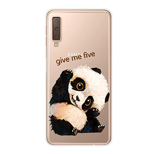 Homikon Silikon Hülle Karikatur TPU Tasche Handyhülle Transparente Durchsichtig Kirstall Clear Ultra Dünn Schutzhülle Stoßdämpfend Soft Case Kompatibel mit Samsung Galaxy A7 2018 - Winkender Panda