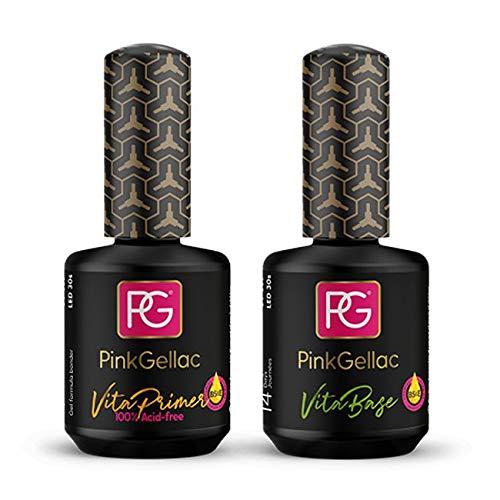 Pink Gellac Vita Primer Haftvermittler mit Vita Base Coat mit Vitamine B5 und E Unterlack Gel Nagellack 2 x 15 ml UV LED Lampe   Gel Nail Polish for UV Nail Lamp   Nagel Lack Gellack Nagelgel (30ml)