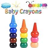 Funmo Crayons à Doigts,Couleurs Crayons de Bébé,Non Toxiques Lavables Jouets Empillables pour Tout-Petits Bébés Enfants,12 Peinture Crayons Couleurs pour la Pratique de la Peinture des Enfants
