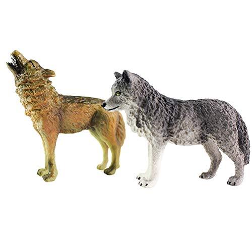 Toyvian Simulation Wolf Figur Wild Animal Modell Kinder Spielzeug Kreative Desktop Ornamente 2 stücke (Grau + Braun)