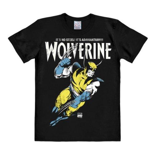 Logoshirt Camiseta Wolverine - Camiseta Marvel Comics - Adamantium - Camiseta con Cuello Redondo Negro - Diseño Original con Licencia, Talla L