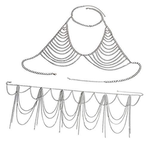 IPOTCH Mehrschichtige Kette Sexy Bikini Schmuck Badeanzüge Halskette Zubehör für Sommer Badeanzug - Silber