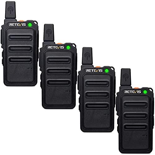 Retevis RT619 Walkie Talkie Mini, PMR446 Two Way Radio Recargable de 2 Vías 1300mAh, 16 Canales, VOX, Cable de Carga USB 2 en 1, Walkie Talkies Portátiles Licencia Libre Escuelas (4 Piezas, Negro)