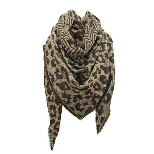 Berrose-Frau Herbst und Winter Kaschmir Schal Weiblich Dreieck Handtuch Leopardenprint Warm halten Damen Schals mit einem armband groß rechteckig Spitz Halstuch