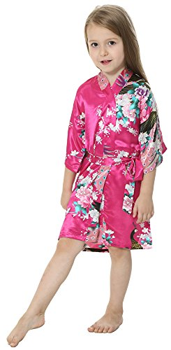 JOYTTON Girls' Satin Kimono Robe for Spa Party Wedding Birthday (4,Fuchsia)