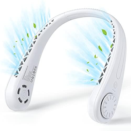 U-miss 首掛け扇風機 羽根なし ネックファン USB充電式 1800mAh 3段階 角度調整 ポータブル ハンズフリー 軽量 静音 小型 コンパクト 髪絡まらない