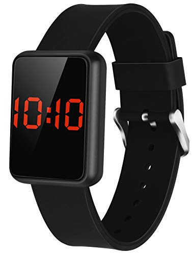 WUTAN Boys Digital Watches Led Touch Screen Sport Watch Stylish Outdoor Electronic Wrist Watches for Girls Boy Unisex Kids Teens with Silicone Band Black Reloj para Niños