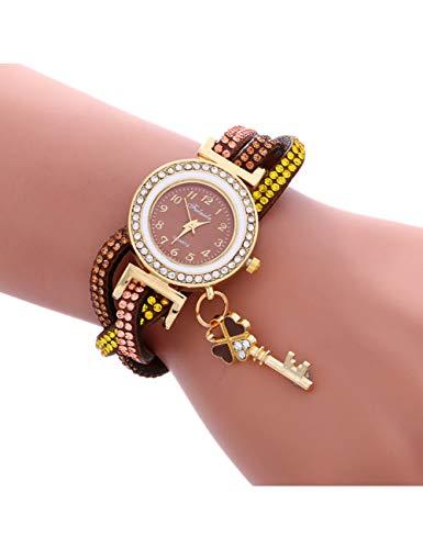 MARRY Damenuhr Besondere Geschenke Frauen Uhren Mode Wrap Around Vorhängeschloss Diamant Armband Lady Womans Armbanduhr, Co