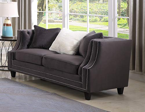 Best Master Furniture Hampstead Tufted Velour Loveseat, Grey
