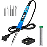 Soldering Iron Kit, 80W 110V LCD Digital Soldering Welding Iron Kit with Ceramic Heater, Portable Soldering Kit with 5pcs Tips, Stand, Solder Tube, Sponge, for Metal, Jewelry, Electric, DIY