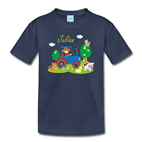 T-Shirt mit eigenem Namen für Babys Kleinkinder Kinder Kindergarten Schulkind Kindershirt Sommershirt Bauernhof Traktor (106-116)