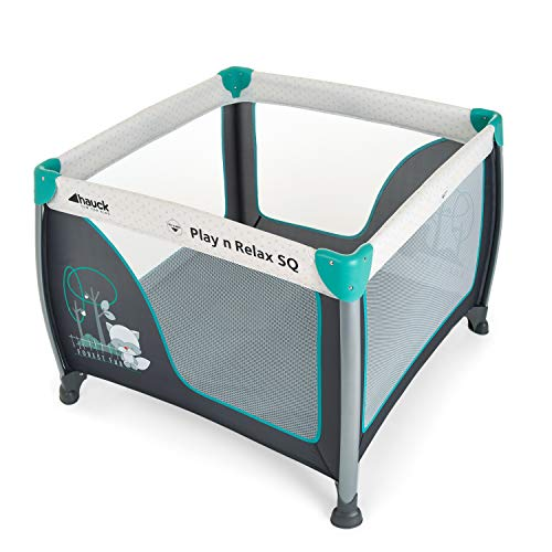 Hauck/Play N Relax SQ/Box per Bambini e per Neonati/leggero, quadratico, composto da 3 pezzi/lettino da viaggio con materasso e borsa / 90 x 90 cm/pieghevole/Forest Fun (Grigio Turchese)