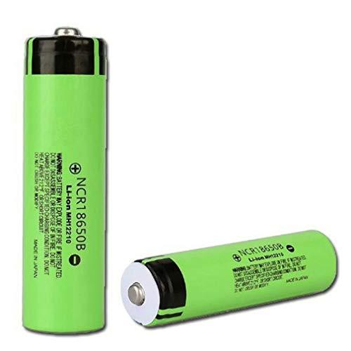 2 Pcs Pilas Recargables 18650 Litio Lones Batería 3.7V 3400mah Capacidad NCR Baterías de Litio Células Acumuladoras para LED Linterna Antorcha, Timbre de Puerta, Verde