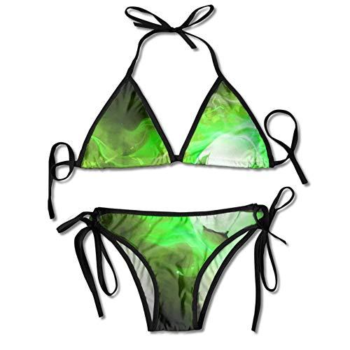 Conjuntos de Bikinis de Dos Piezas para Mujer Traje de baño de fútbol con Llama de Fuego Verde Halter Acolchado Push Up Ropa de Playa para Playa, Piscina, Surf