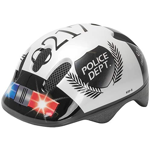 M-Wave Kinder Fahrradhelm POLICE, Weiß (Weiß/Schwarz), 52-57 cm