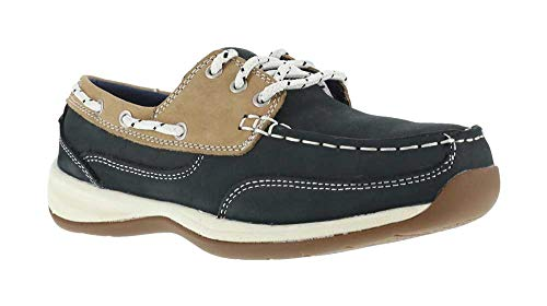 Rockport Works Navy/Tan Steel Toe, SD, Women's Sailing Club 3 Eye Boat Shoe (5.5 M)