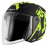 Vega Lark Victor Dull Black Neon Yellow Helmet, M