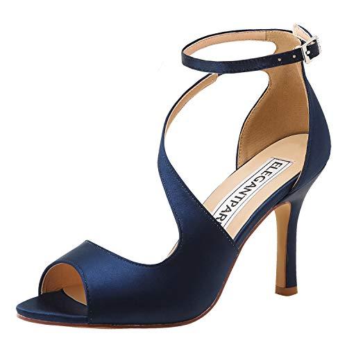 ElegantPark HP1565 Zapatos para Novia Mujer Peep Toe Sandalias de Boda Tacón Correa De Tobillo Satén Zapatos de Fiesta Novia BLU Navy EU 39
