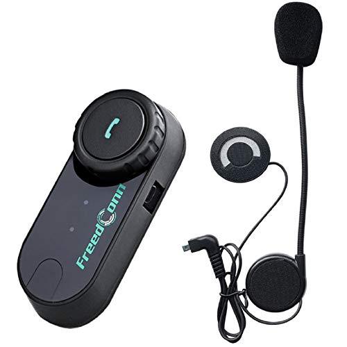 FreedConn T-COMVB BT 800M 500M 0.3MI - Casco para motocicleta con auriculares de comunicación Bluetooth para moto, equitación, esquí, 2–3personas (1unidad con cable duro)