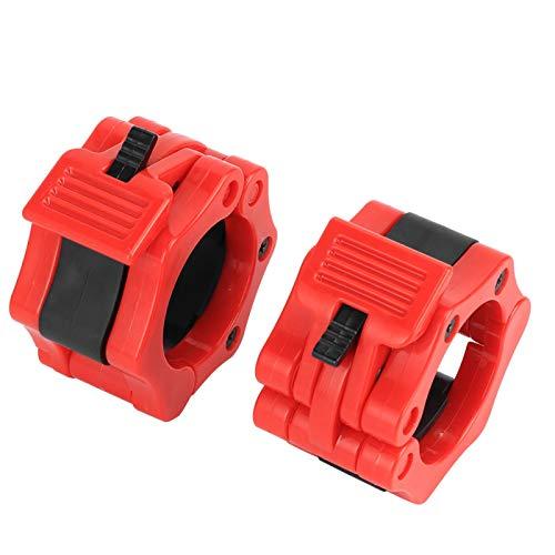 Shipenophy 2pcs Barbell Hebilla de plástico para levantamiento de pesas (rojo)