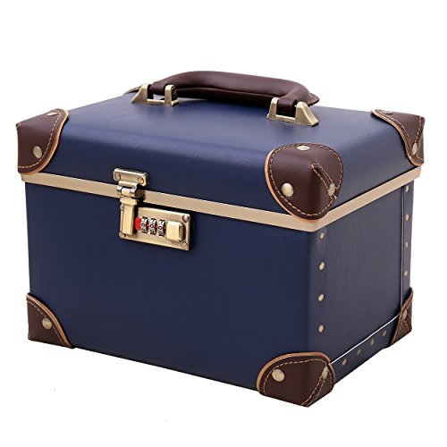 urecity Portable Makeup Train Case Cosmetic Organizer Case Leather Storage Box with Combination Lock (15', Retro Blue)