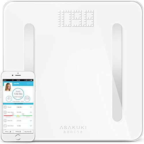 ASAKUKI Bluetooth Body Fat Scale, Digital Weight Bathroom Scale, Heavy-Duty & Durable Precision Smart Wireless With Accurate Health Metrics, Step-On Technology For Weight Watchers