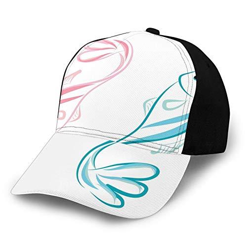Gorra de béisbol unisex con borde curvado, diseño abstracto de atún masculino y femenino idéntico con impresión Quirky poliéster tela de sarga sombrero de papá gorra de béisbol