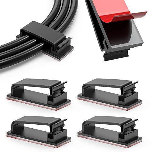 Organizador de Cables Autoadhesivo, Jirvyuk 100 Piezas Clips de Cables para Cable de USB, TV, Cargador, Audio, Abrazadera de Alambre Mesa, Coche, Oficina, Casa Sistema de Gestión de Cable
