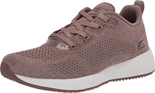 Skechers Damen Bobs Squad - Glitz Maker Sneaker, Braun (Taupe Sparkle Engineered Knit TPE), 40 EU