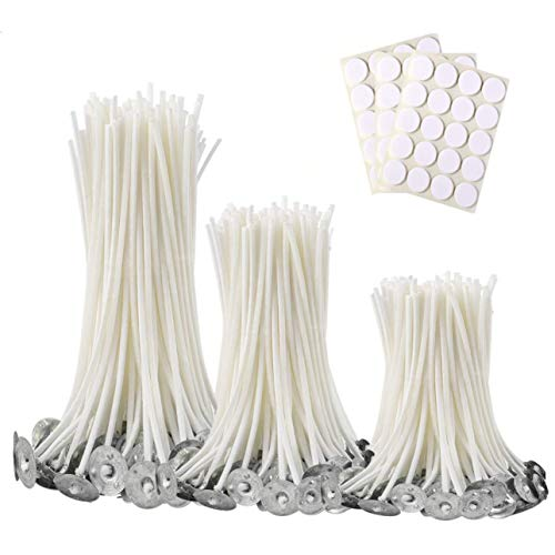 300Pcs Functional Smokeless Candle Wicks,100pcs Wicks Sticker, Pre-Waxed Cotton Core Wicks with Metal Sustainer Tabs for Pillar Candle Making and Candle DIY Christmas Gift,9cm/3.5in,15cm/6in,20cm/8in
