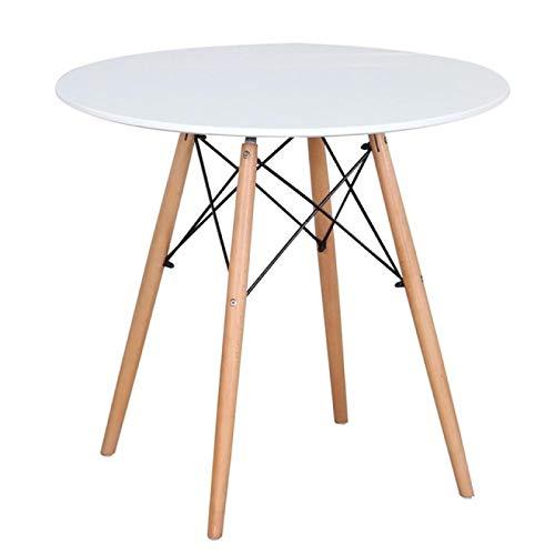 GAOYH Mesa redonda de comedor redonda con patas de madera estilo escandinavo, mesa de centro informal para comedor, sala de estar, cocina, apartamento, color negro