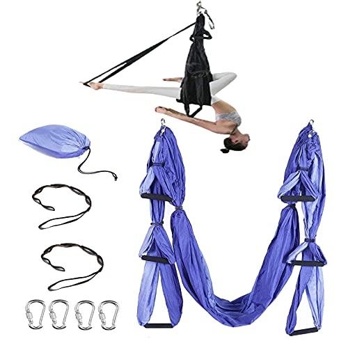 Lumanby Aerial Yoga Hamaca Aerial Sedas Equipo Anti-Gravity Flying Swing Sedas Aéreas Yoga Pilates Set Incluye Mosquetones de Acero Correas de Extensión (Púrpura)