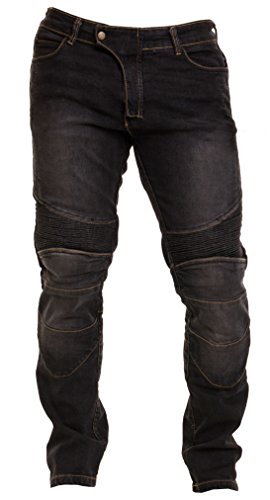 Qaswa Herren Motorradhose Jeans Motorrad Hose Motorradrüstung Schutzauskleidung Motorcycle Biker Pants, Black, 32W / 34L