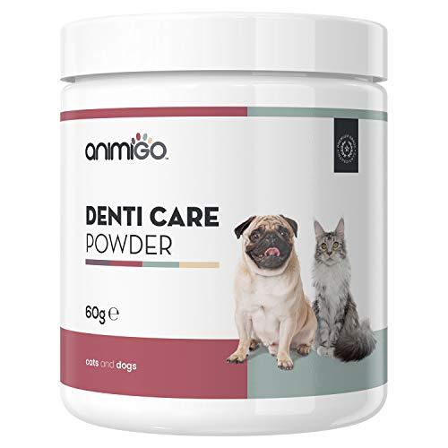 Animigo Polvos Cuidado Dental para Perros y Gatos | Suplemento Polvo para Higiene Bucal de Mascotas | Cuida Dientes, Encías y Refresca el Aliento | con Algas Marinas, Hierbabuena y Granada | 60gr
