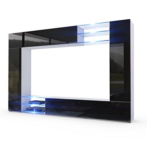 Vladon Wohnwand Anbauwand Mirage, Korpus in Weiß matt/Fronten in Schwarz Hochglanz inkl. LED Beleuchtung