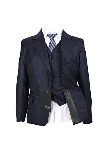 SIRRI Kinder Jungen Anzug 5 Teilig für Hochzeit mit gestreifte Krawatte in Dunkelblau 6-7 Jahre